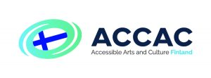 Green swirl with blue centre, ACCAC Accessible Arts and Culture