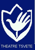 "A white tulip outline with a hand in the middle, on a navy blue background. White writing says ""Theatre Tsvete"""