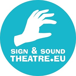 White hand, text reads sign sound theatre.eu, in a turquoise circle